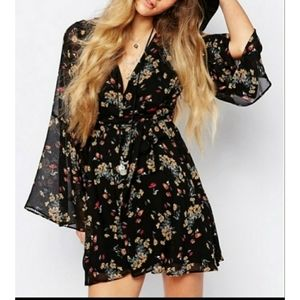 Free People Lilou floral print bell sleeve dress